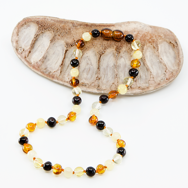 Multi color baroque Baltic Amber Necklace Bracelet Set
