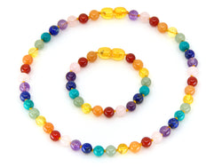 Chakra Baltic Amber and gemstone Rainbow Necklace Bracelet Set