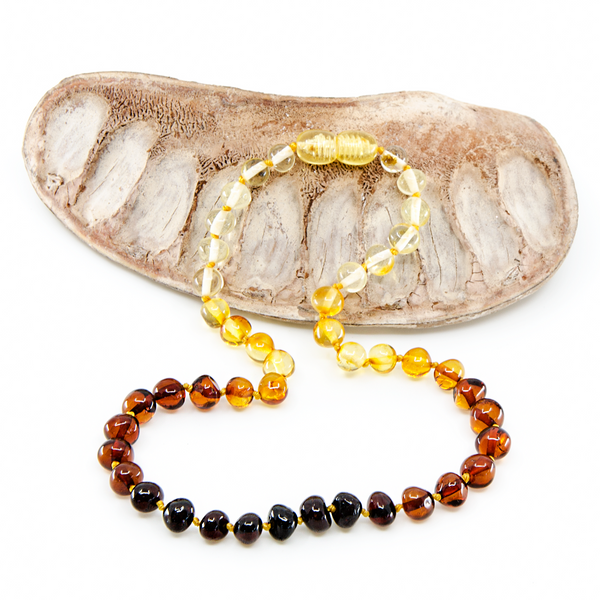 Rainbow baroque Baltic Amber Necklace Bracelet Set