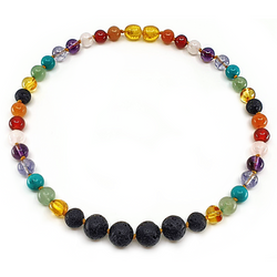 Rainbow gemstone necklace with Lava rock center