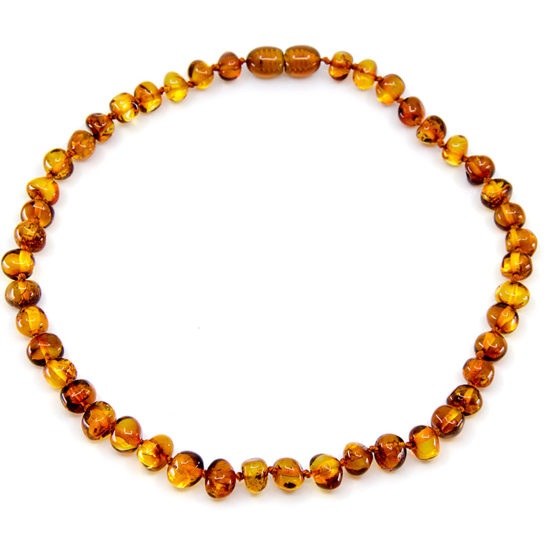 Cognac baroque Baltic Amber Necklace Bracelet Set