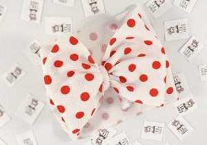 White & Mini Red Polka Dots