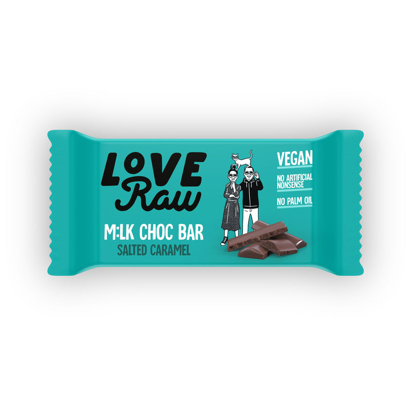 LoveRaw Vegan Salted Caramel Milk Chocolate Bar