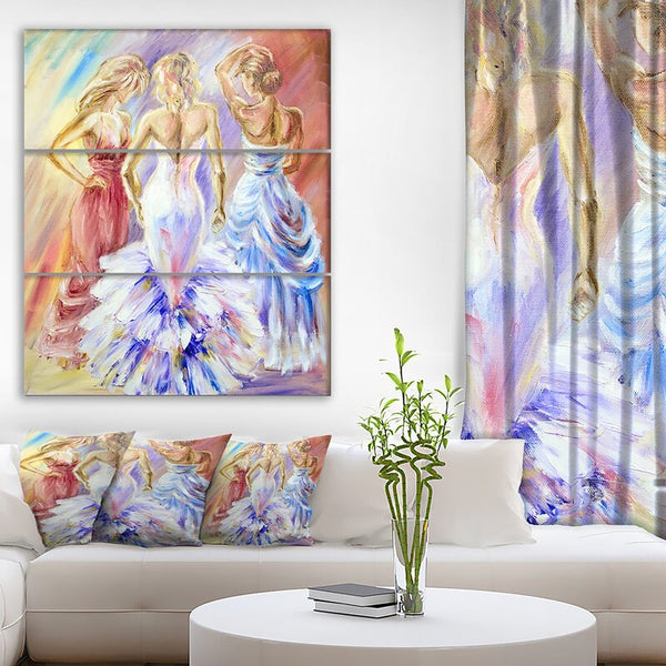 'Beautiful Women at the Ball' Oil Painting Print Multi-Piece Image on Wrapped Canvas