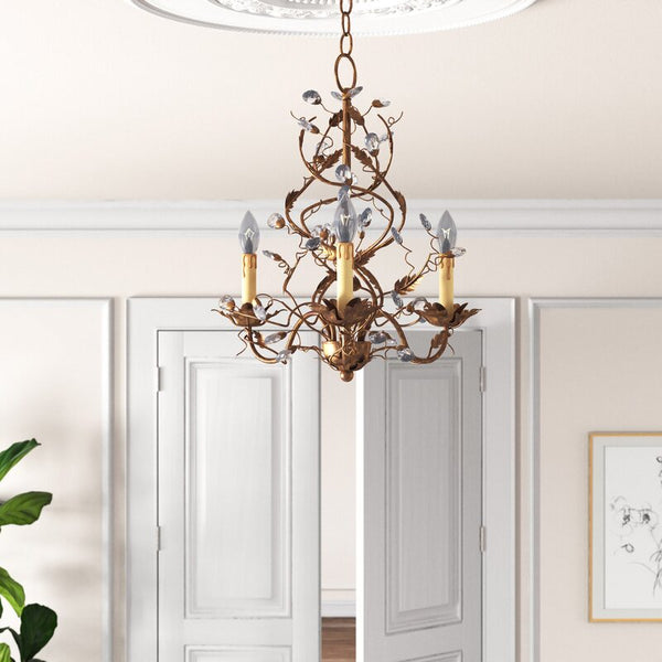 Etruscan Gold Cassell 3-Light Candle Style Classic / Traditional Chandelier