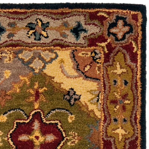 Balthrop Oriental Handmade Tufted Wool Red/Navy Blue/Yellow Area Rug - 2' x 3'