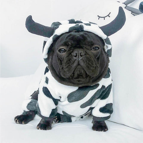 French Bulldog Cow Cosplay Costume Hooded Jumpsuit - Frenchiely