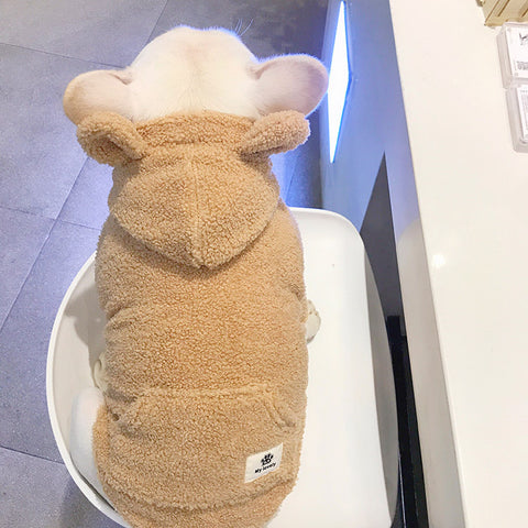 Fluffy Hoodie Coat with Pocket for Medium Dogs - Frenchiely