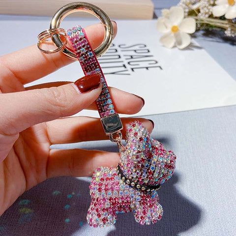 Rhinestone French Bulldog Keychain Key Ring - Frenchiely