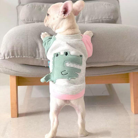 Cartoon Crocodile Sweatshirt Coat for Frenchies - Frenchiely