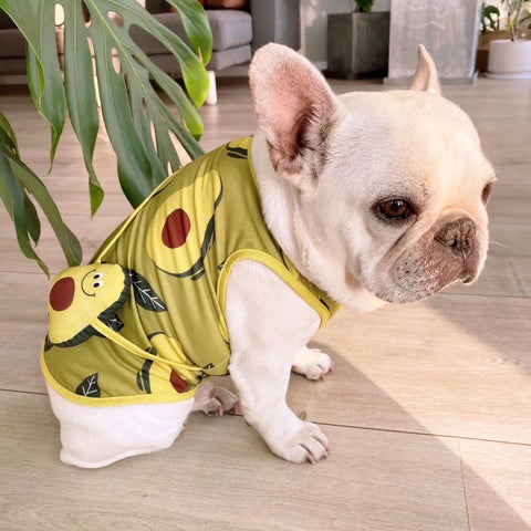 Cartoon Dog Avocado Shirt with Bag