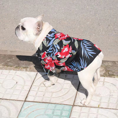 Dog Floral Hawaiian Holiday Shirts for french bulldog - Frenchiely