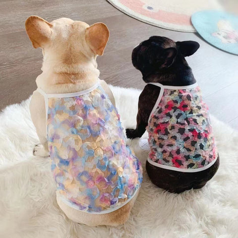 Frenchiely Dog Summer Mesh Floral Shirt for Female Dogs 0