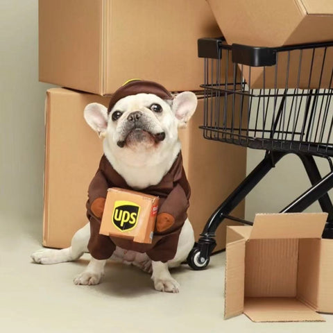 Frenchiely Dog USPS UPS Costume for Small Medium Dogs 0