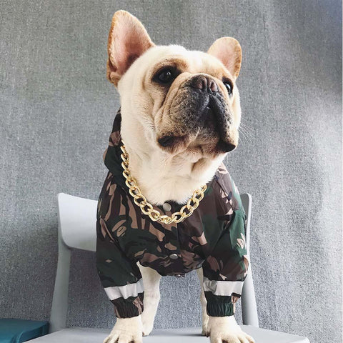 Dog Camo Hooded Reflective Rain Jacket - Frenchiely