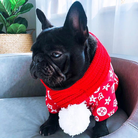 Dog Christmas Pom Pom Scarf for Medium Dogs - Frenchiely