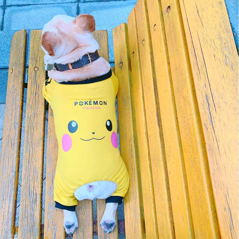 Cartoon Pikachu Frenchie Onesie for Dogs - Frenchiely