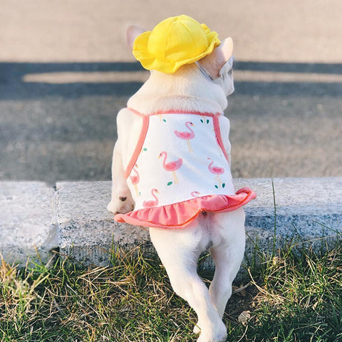 Dog Flamingo Suspender Skirt Dress for Frenchies with Yellow Hat - Frenchiely