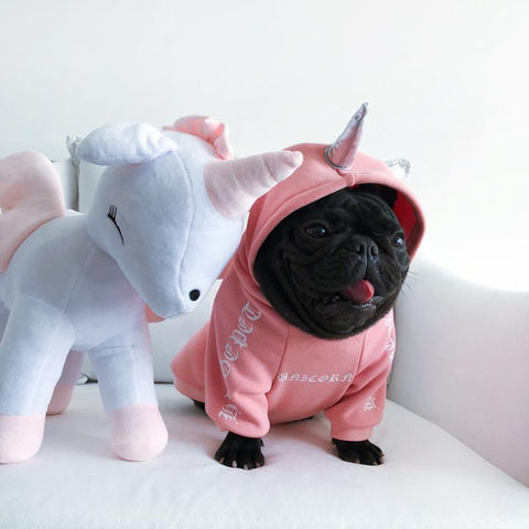 Cute Pink Unicorn Hoodie for Girl Bulldogs - Frenchiely