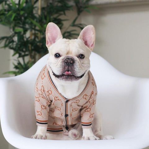 French Bulldog Beige Cardigan Sweater - Frenchiely