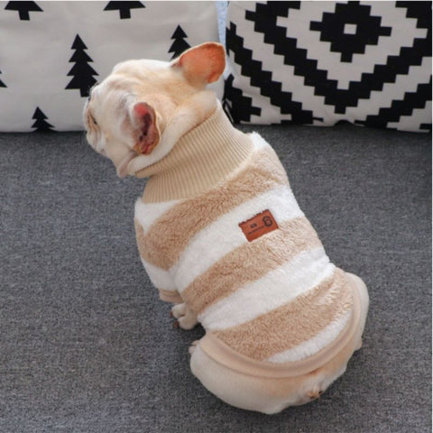 Striped Turtleneck Sweater for Bulldogs - Frenchiely