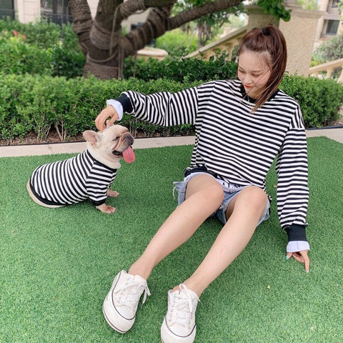 matching dog and owner clothes striped shirts - Frenchiely