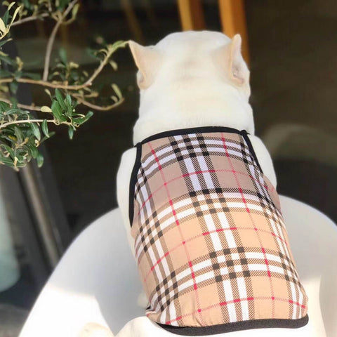 Frenchiely dog bubbery plaid vest shirt for medium dogs 02