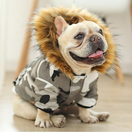 Dog Camo Winter Coat Parka with Fur Hood - Frenchiely