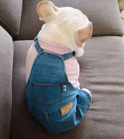 Dog Demin Suspender Dress Overall - Frenchiely