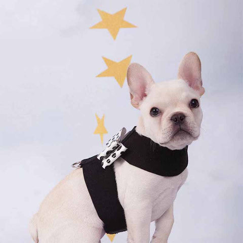 French Bulldog Puppy Harness Vest with Bow Leash Set - Frenchiely