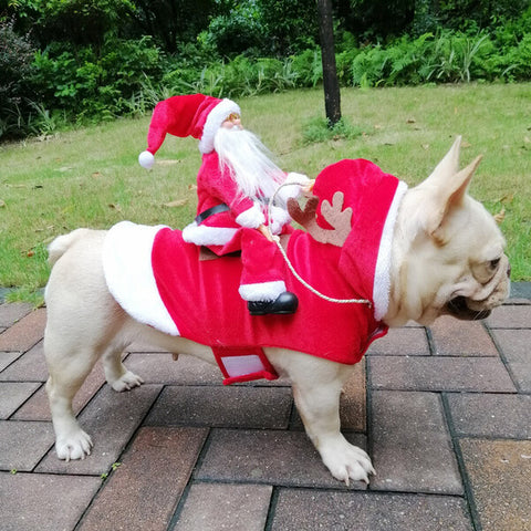 French Bulldog Santa Clause Costume Outfits