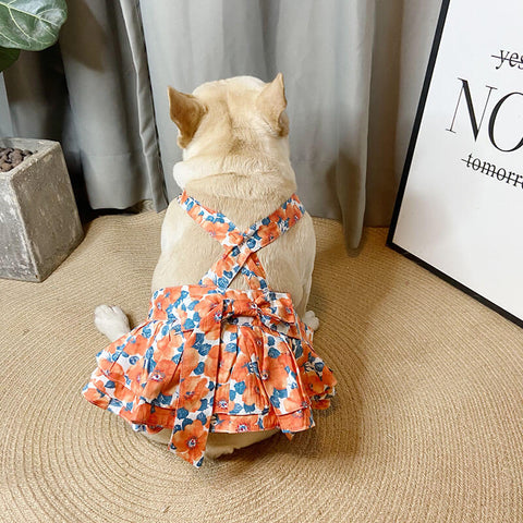 Dog Orange Floral Dress for Small Medium Dogs