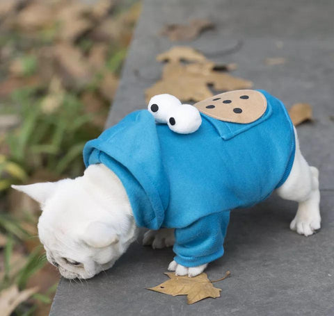 Cookie Monster Hoodie Coat with Pocket for Small Dogs - Frenchiely