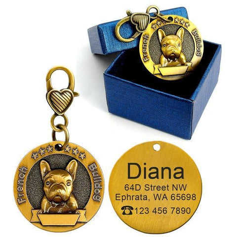 Custom Golden Dog ID Tag Engraved Logo - Frenchiely
