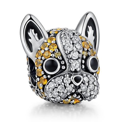 DIY Sterling Silver Pave French Bulldog Charms Beads Fit Pandora Bracelets - Frenchiely