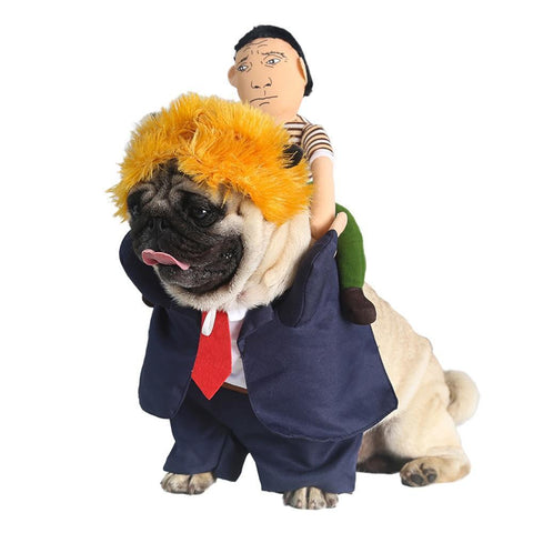 Dog Funny Halloween Suit Costume With Wig Donald Trump Costume - Frenchiely
