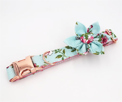 light blue dog flower collar leash - Frenchiely