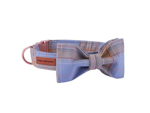 Plaid Dog Collar Wedding Bow Tie for Male Dogs - Frenchiely