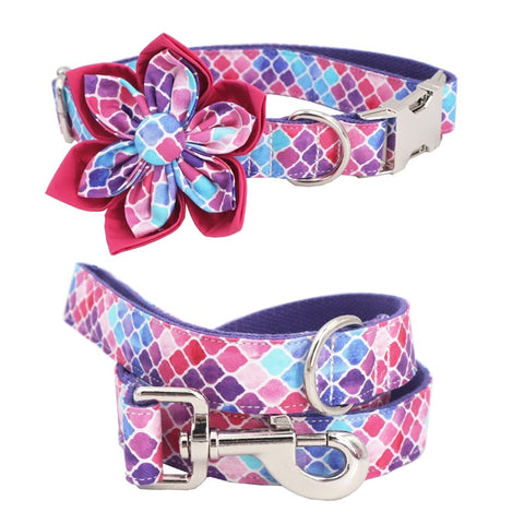 Female Dog Flower Collar Leash Set