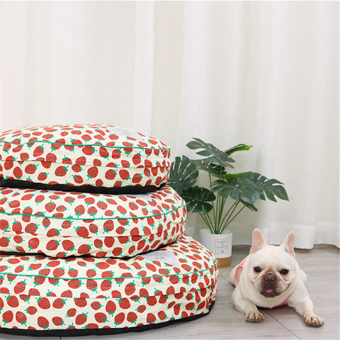 French Bulldog Strawberry Round Sofa Bed - Frenchiely