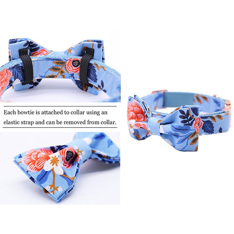 Dog Blue Floral Collar Bow for French Bulldogs - Frenchiely