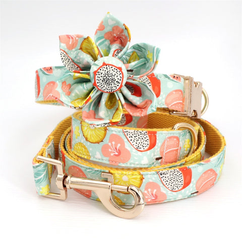 Frenchiely Floral Dog Collar Bow with Tie for Medium Dogs