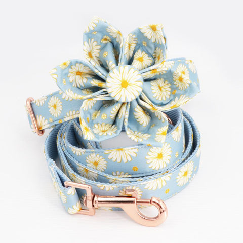 Blue Daisy Dog Collar Bow with Tie for Small Dogs- Frenchiely