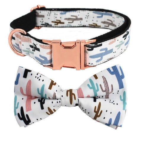 Cactus Dog Collar Bow tie fore French Bulldogs - Frenchiely