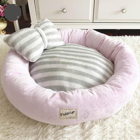 Round Dog Bed Mat Sofa with Bow Tie Pillow for Frenchies - Frenchiely