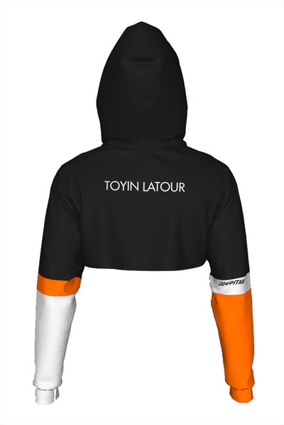 Toyin LaTour Black Ladies Crop Top Hoodie