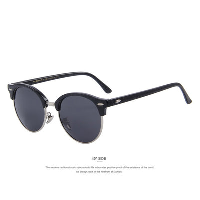 Retro Rivet Semi-Rimless Sunglasses