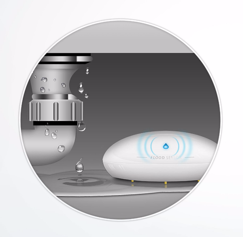 Fibaro Z-Wave Plus Flood Sensor installed under a sink