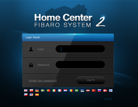 Fibaro Z-Wave Gateway Controller Home Center 2 FGHC2 Log-in Screen