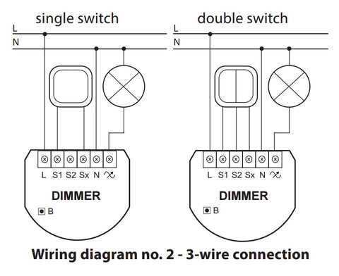 Fibaro Z-Wave Plus Dimmer 2 FGD-212 Wiring Diagram with Neutral